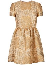 Valentino - Metallic Floral Mini Dress - Lyst