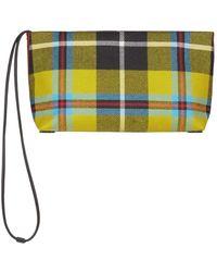 Burberry | Zipped Tartan Clutch, Yellow | Lyst