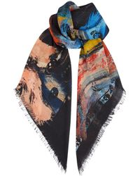 f505bd7022fd Alexander McQueen Skulls Printed Black Wool And Silk Scarf in Black ...