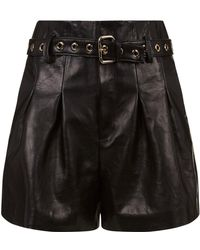RED Valentino - Belted Leather Shorts - Lyst