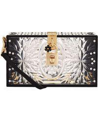 Dolce & Gabbana - Embellished Plexiglass Box Clutch - Lyst