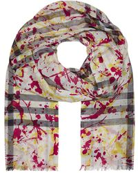 Burberry - Splash Print Lightweight Check Cashmere Scarf - Lyst