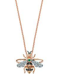 Bee Goddess - Diamond And Emerald Honey Bee Necklace - Lyst