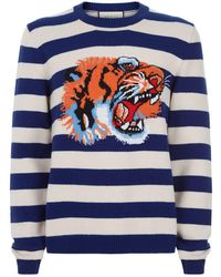 1b202c9c Gucci - Striped Wool Sweater With Tiger Head - Lyst