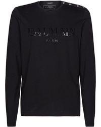 Balmain - Button Shoulder Logo T-shirt - Lyst