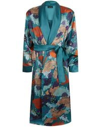 Meng - Floral Silk Dressing Gown - Lyst