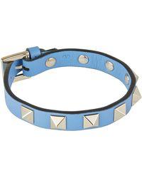 Valentino - Leather Rockstud Bracelet - Lyst