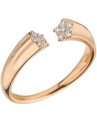 Bee Goddess - Rose Gold And Diamond Sirius Open Ring - Lyst