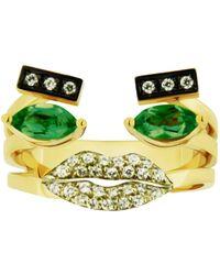Delfina Delettrez - Emerald Portrait Ring - Lyst
