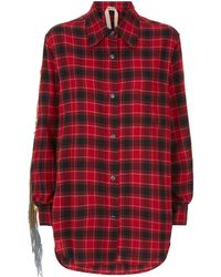 N°21 - Sequin Fringed Check Shirt - Lyst