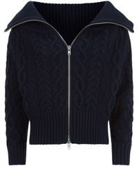 Self-Portrait - Cropped Cable Knit Cardigan - Lyst