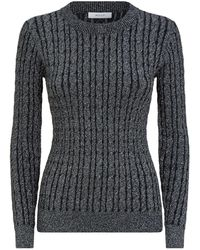 MILLY - Shimmer Cable Knit Jumper - Lyst