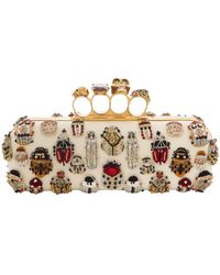 Alexander McQueen - Long 4-ring Knuckle Clutch Bag With Bug Embroidery - Lyst