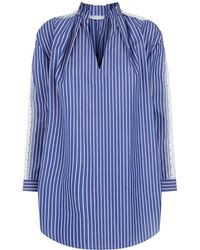 Sandro - Striped Blouse With Lace Insert - Lyst