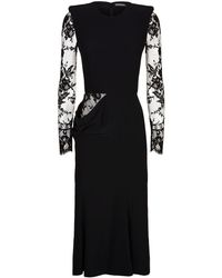 Alexander McQueen - Lace Sleeve Crepe Midi Dress - Lyst