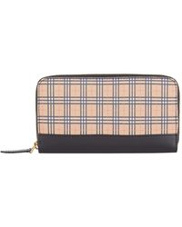 Burberry - Small Scale Check Leather Wallet - Lyst