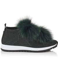 Jimmy Choo - Norway Fur Pom Pom Sneakers - Lyst