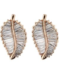 Anita Ko - Rose Gold Palm Leaf Stud Earrings - Lyst
