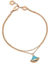 BVLGARI - Rose Gold And Turquoise Divas' Dream Bracelet - Lyst