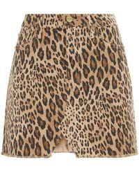 FRAME - Le Mini Leopard Print Skirt - Lyst
