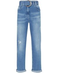 Balmain - Straight Belted Jeans - Lyst