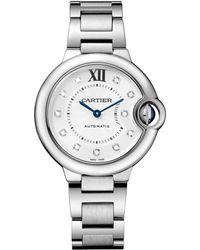 Cartier - Stainless Steel Diamond Ballon Bleu De Watch 33mm - Lyst