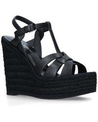 Saint Laurent - Leather Espadrille Sandals 95 - Lyst