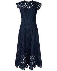 Lela Rose - Guipure Lace Midi Dress - Lyst