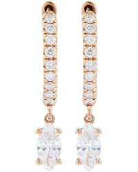 Anita Ko - Rose Gold And Diamond Huggie Drop Earring - Lyst