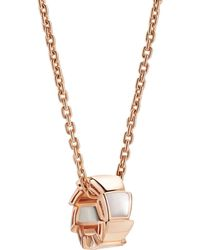 BVLGARI - Rose Gold And Mother-of-pearl Serpenti Necklace - Lyst