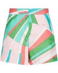 8df6db141b87 Lyst - Emilio Pucci Printed Stretch Twill Shorts in Pink