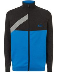 BOSS - Knitted Zip Up Sweater - Lyst