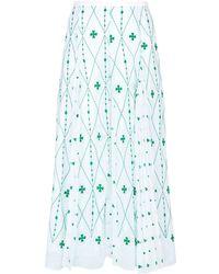 Sandro - Embroidered Pleated Midi Skirt - Lyst