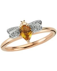 Bee Goddess   Rose Gold Diamond And Citrine Queen Bee Ring, Yellow, One Size   Lyst