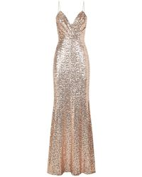 Badgley Mischka - Draped Front Sequin Gown - Lyst