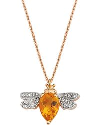 Bee Goddess - Citrine And Diamond Queen Bee Necklace - Lyst