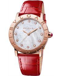 BVLGARI - Rose Gold, Mother-of-pearl And Diamond Bulgari Bulgari Lady Watch 33mm - Lyst