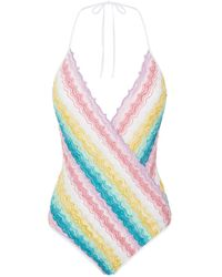 Missoni - Zig Zag Wrap Front Swimsuit - Lyst