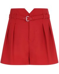 RED Valentino - High Rise Crepe Shorts - Lyst