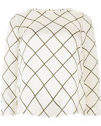 Elena Miro - Silk Diamond Check Printed Blouse - Lyst
