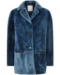 Sandro - Cropped Shearling Coat - Lyst