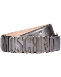 Moschino - Metallic Leather Logo Belt - Lyst