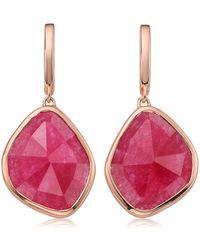 Monica Vinader - Siren Large Nugget Rose Quartz Earrings - Lyst