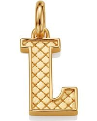 Monica Vinader - Gold Quilted Capital L Pendant - Lyst