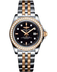 Breitling - Steel And Gold Galactic Sleek Diamond Bezel Quartz Watch 32mm - Lyst