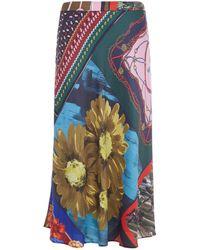 Boutique Moschino - Scarf Print Midi Skirt - Lyst