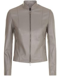 Harrods - Stand Collar Leather Jacket - Lyst