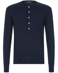 Tom Ford - Long Sleeve Henley Shirt - Lyst