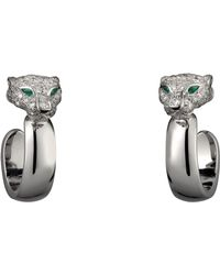 Cartier - White Gold And Diamond Panthre De Earrings - Lyst