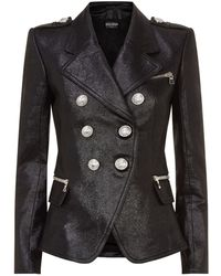 Balmain - Leather Blazer - Lyst
